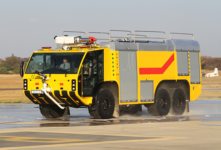 "On the 26th September, in the presence of assembled guests from the African nations, Marcé Fire Fighting Technology of Centurion in South Africa chose Wonderboom National Airport in Pretoria as the setting to launch and fully demonstrate the capabilities of their stunning all-new ""Rhino"" custom built airport crash tender."