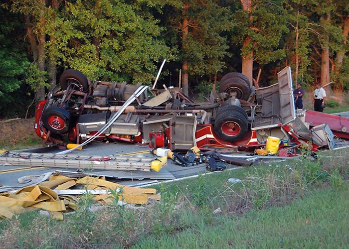On July 26, 2010, a 59-year-old male volunteer fire chief (victim 1) and a 67-year-old male volunteer firefighter (victim 2) died from injuries sustained after they were ejected when their engine was involved in a crash and rolled over. Image courtesy of William Peterson.