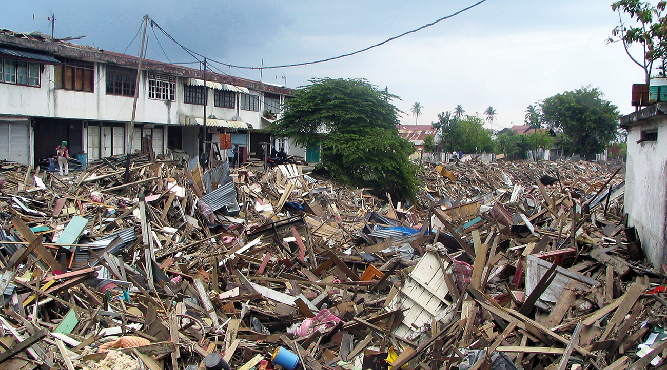 Damage from Asian Tsunami 2004.