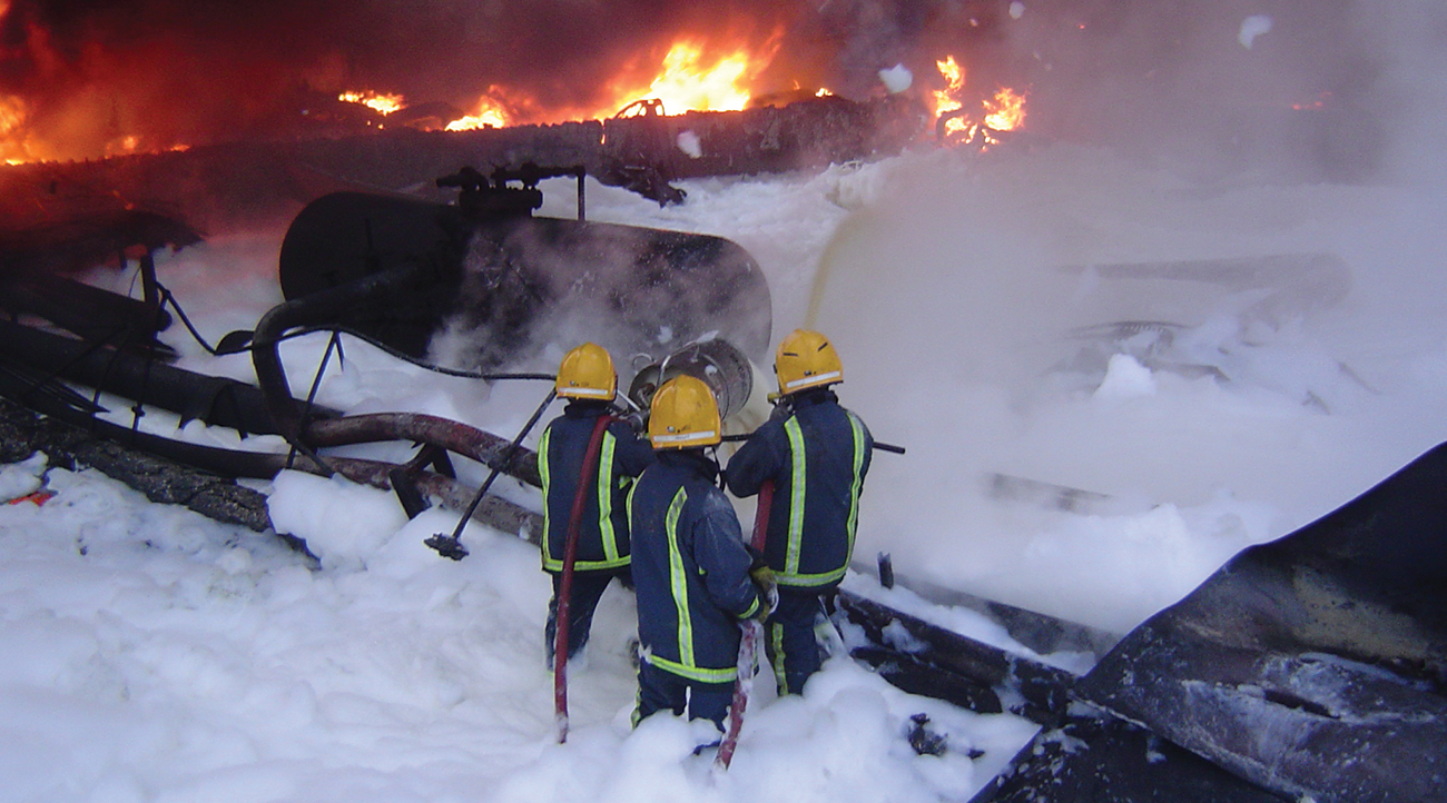 Fire fighters pictured during the the incident at Buncefield.