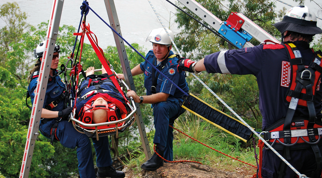 FERNOs ArachniPOD performs within any technical rescue scenario. Also shown are the FERNO Rescue Centerpoint Harness and Traverse Titan litter.