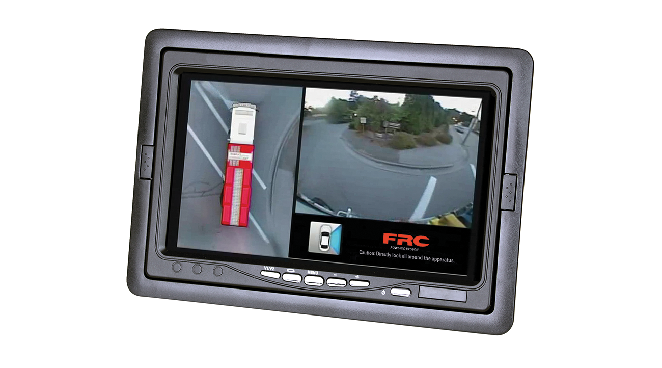 """Screen Shot of the inView 360 picture on the FRC- AVM 7.4"""" In Cab Monitor."""