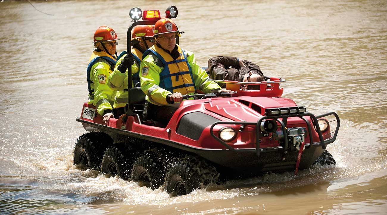 The fully amphibious ARGO offers excellent stability and can transport Fire & Rescue personnel and equipment across water to extricate and evacuate injured parties and get them home safely, all without vehicle preparation.