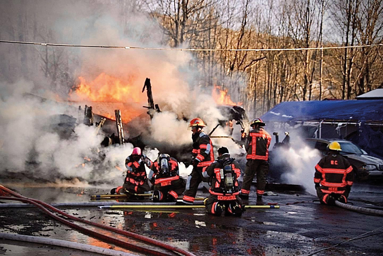 Team work is a vital aspect of firefighting. We must reply upon one another during these times. (Image courtesy of West Corners Fire Department, Endicott, New York)
