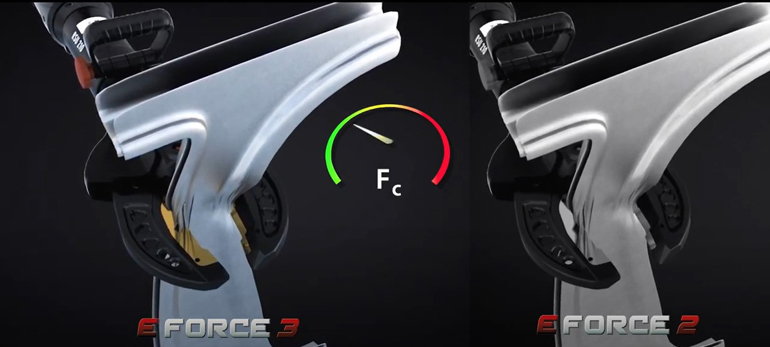The new generation of E-FORCE cutters are much faster in cutting – this example shows the cutting of a B-pillar in comparison to the previous E-FORCE2 series. (Image copyright: Weber Rescue)