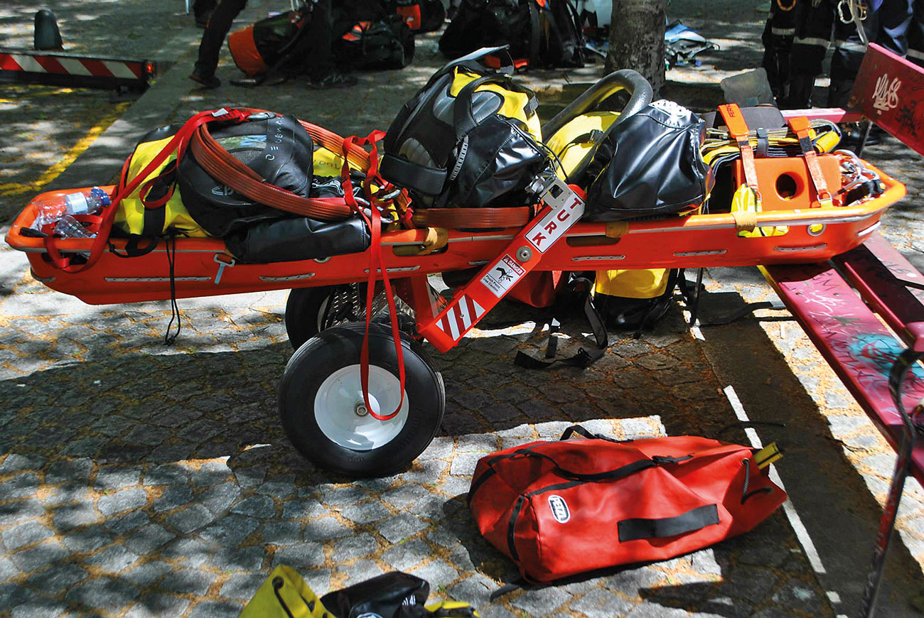 USAR Team Portugal, loaded basket with equipment ready to deploy.
