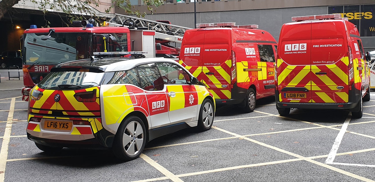 Fire Investigation vehicles at Dowgate on our open day.