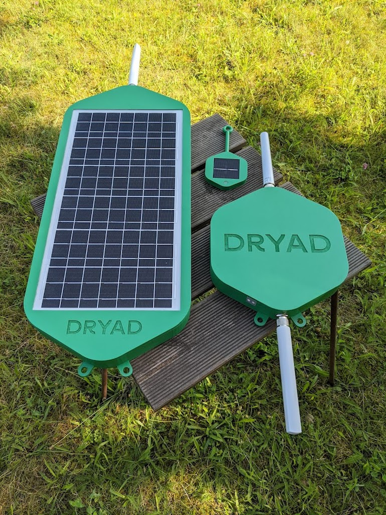 The product family from left to right: Dryad Silvanet solar-powered mesh gateway 67x28cm (without antenna); solar-powered digital nose (9x10cm without antenna, 19x10cm with antenna); mains or solar-powered border gateway (27x25cm plus antenna). (Dryad)